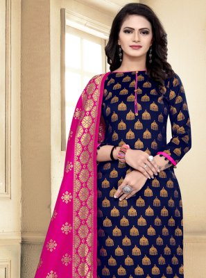 Banarasi Silk Weaving Churidar Salwar Suit in Navy Blue