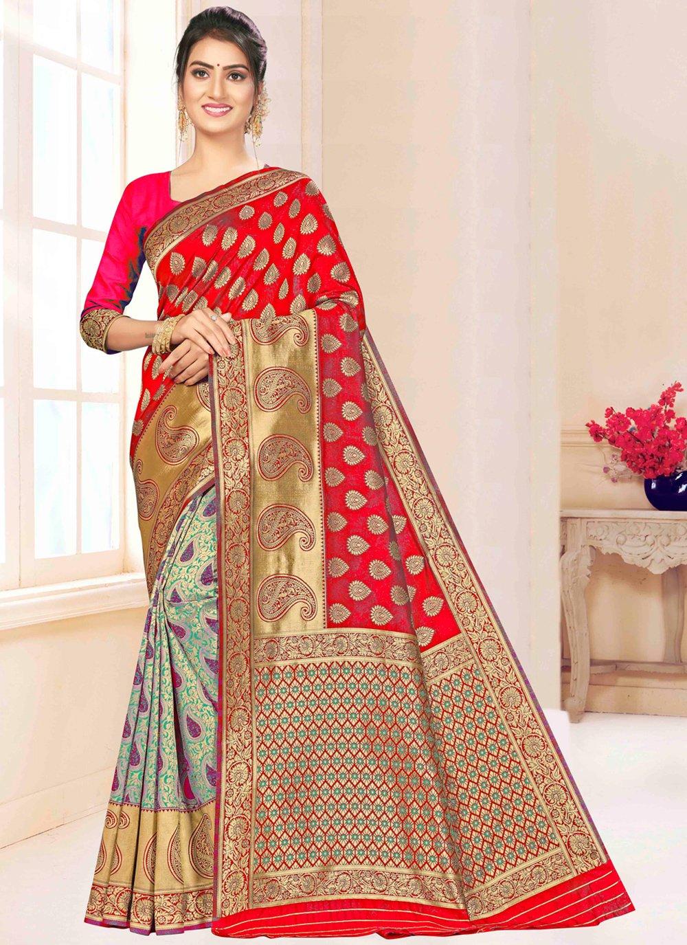 Banarasi Silk Weaving Designer Saree in Multi Colour