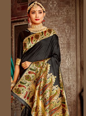 Banarasi Silk Weaving Designer Traditional Saree in Black