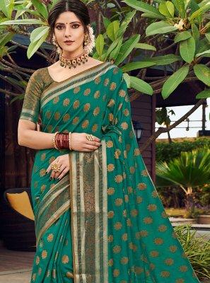 Banarasi Silk Weaving Designer Traditional Saree in Green