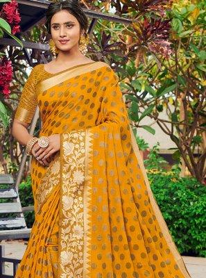 Banarasi Silk Weaving Designer Traditional Saree in Mustard