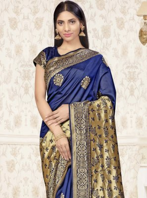 Banarasi Silk Weaving Designer Traditional Saree in Navy Blue