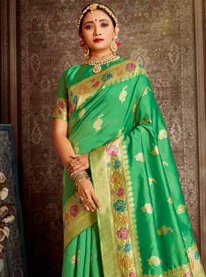 Banarasi Silk Weaving Green Designer Traditional Saree