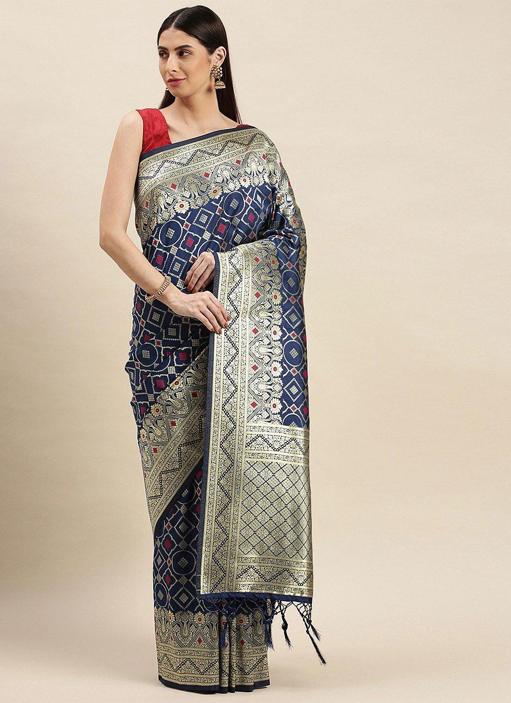 Banarasi Silk Weaving Grey Designer Traditional Saree