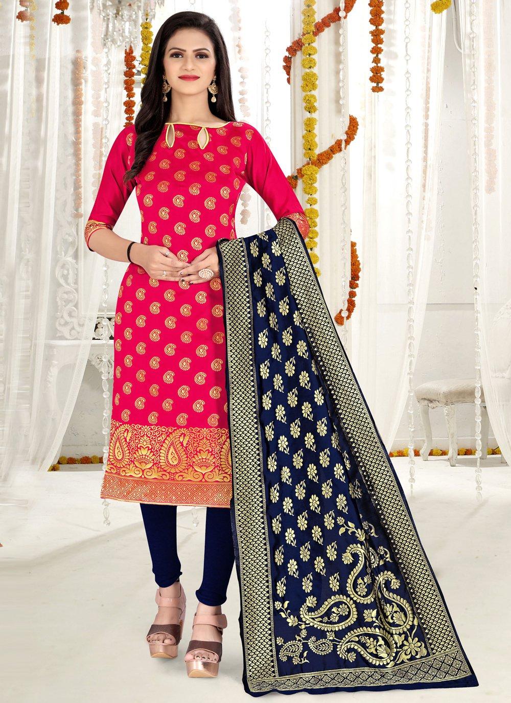 Banarasi Silk Weaving Hot Pink Churidar Salwar Kameez