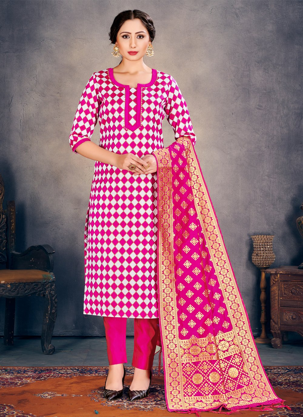 Banarasi Silk Weaving Hot Pink Pant Style Suit