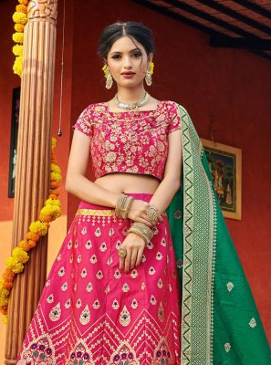 Banarasi Silk Weaving Lehenga Choli in Hot Pink