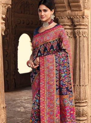 Banarasi Silk Weaving Navy Blue Traditional Designer Saree