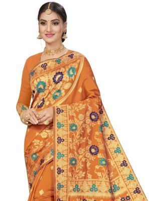 Banarasi Silk Weaving Orange Traditional Designer Saree