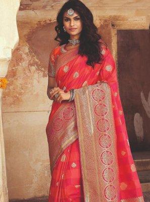 Banarasi Silk Weaving Pink Designer Traditional Saree