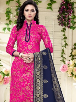 Banarasi Silk Weaving Rani Churidar Salwar Suit