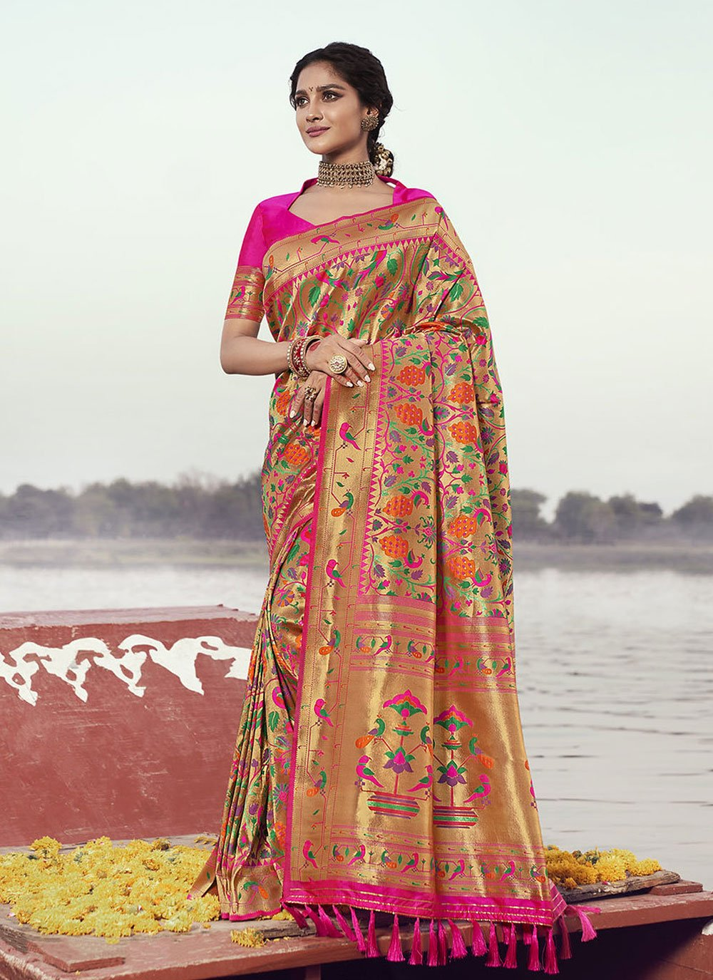 Banarasi Silk Weaving Rani Designer Traditional Saree