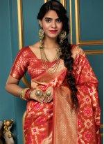 Banarasi Silk Weaving Red Traditional Saree
