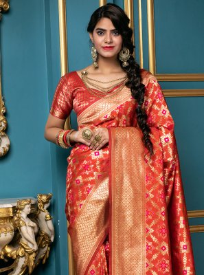 Banarasi Silk Weaving Red Traditional Saree