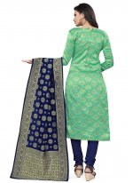 Banarasi Silk Weaving Sea Green Churidar Designer Suit