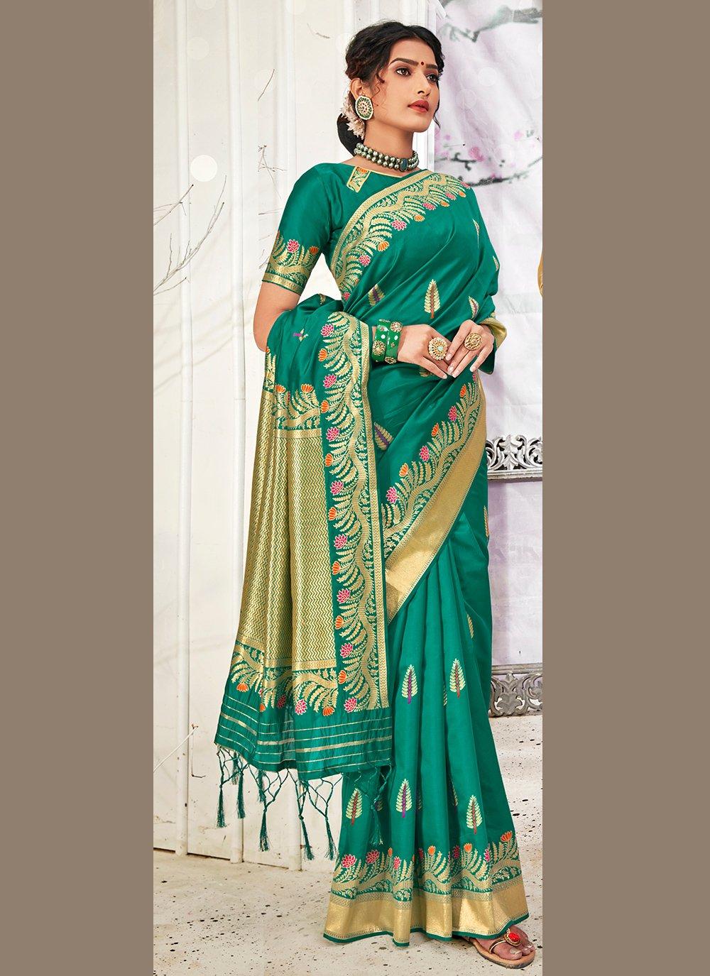 Banarasi Silk Weaving Teal Traditional Designer Saree