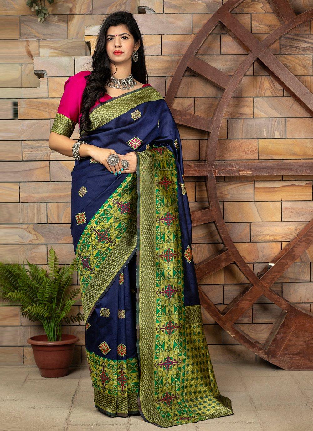 Banarasi Silk Weaving Traditional Designer Saree in Blue