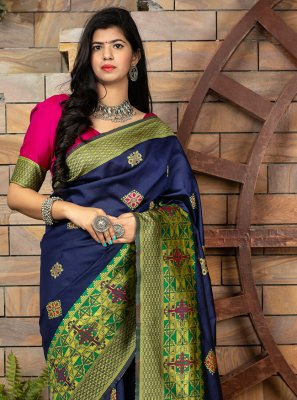 Banarasi Silk Weaving Traditional Designer Saree in Blue