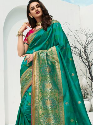 Banarasi Silk Weaving Traditional Designer Saree in Green