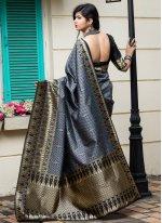 Banarasi Silk Weaving Traditional Designer Saree in Grey