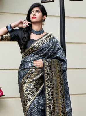 Banarasi Silk Weaving Traditional Designer Saree in Grey