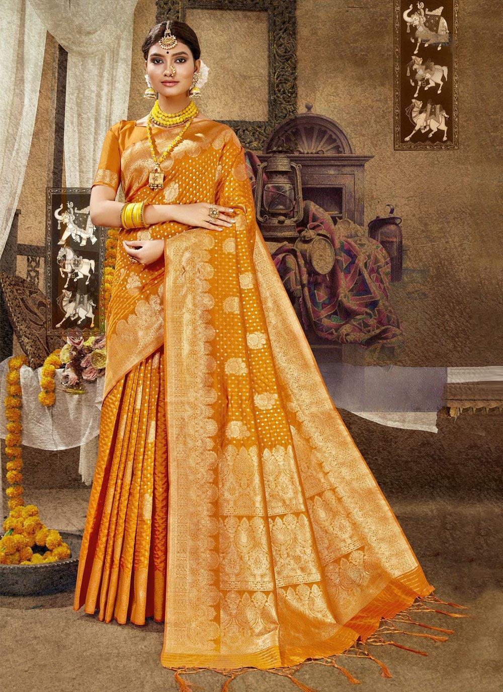 Banarasi Silk Weaving Traditional Designer Saree in Orange