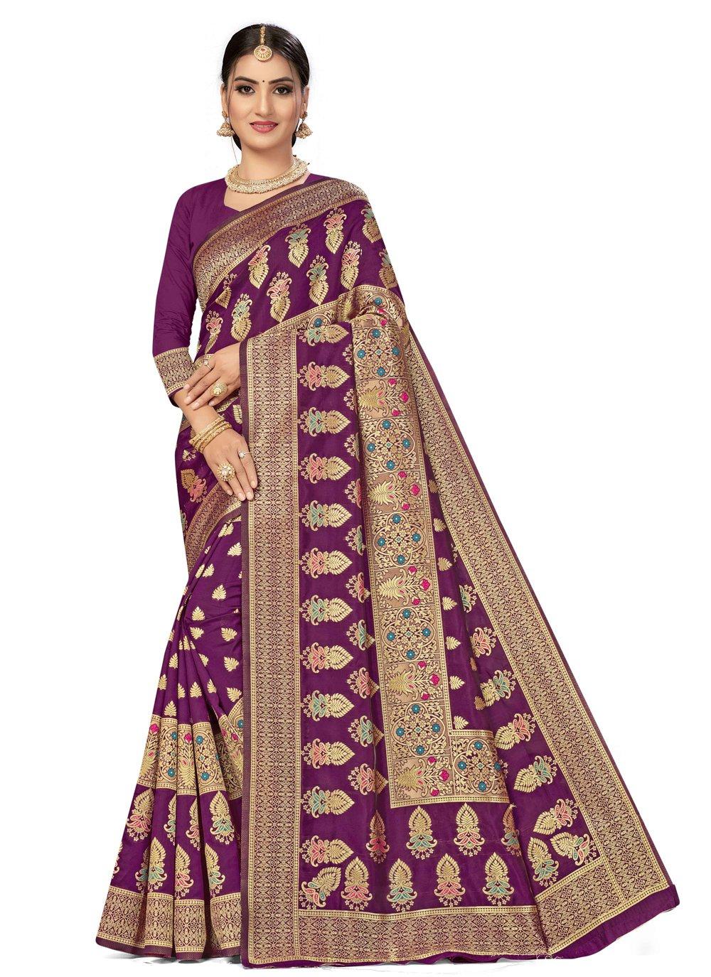 Banarasi Silk Weaving Traditional Designer Saree in Purple
