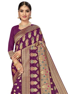 Banarasi Silk Weaving Traditional Designer Saree in Purple