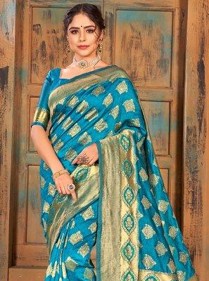 Banarasi Silk Weaving Turquoise Classic Saree