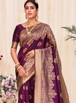 Banarasi Silk Weaving Wine Designer Traditional Saree