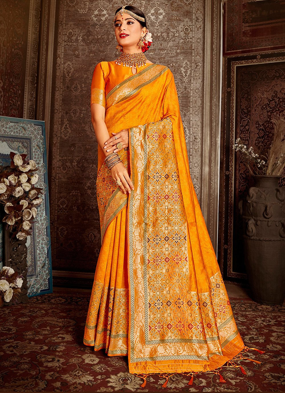 Banarasi Silk Weaving Yellow Designer Traditional Saree