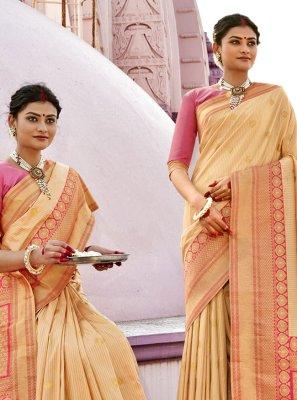 Banarasi Silk Woven Cream Designer Traditional Saree