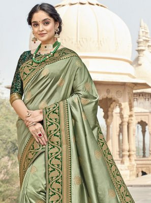 Banarasi Silk Woven Designer Saree in Green