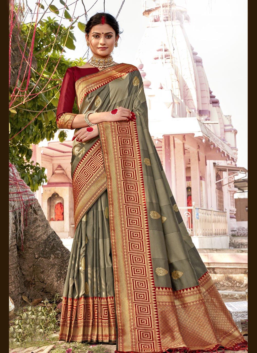 Banarasi Silk Woven Grey Designer Traditional Saree