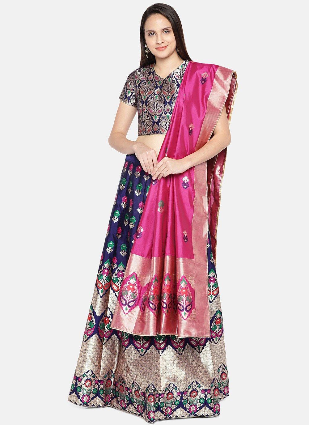Banarasi Silk Woven Lehenga Choli in Blue