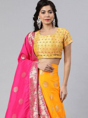 Banarasi Silk Woven Yellow A Line Lehenga Choli