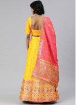 Banarasi Silk Yellow A Line Lehenga Choli
