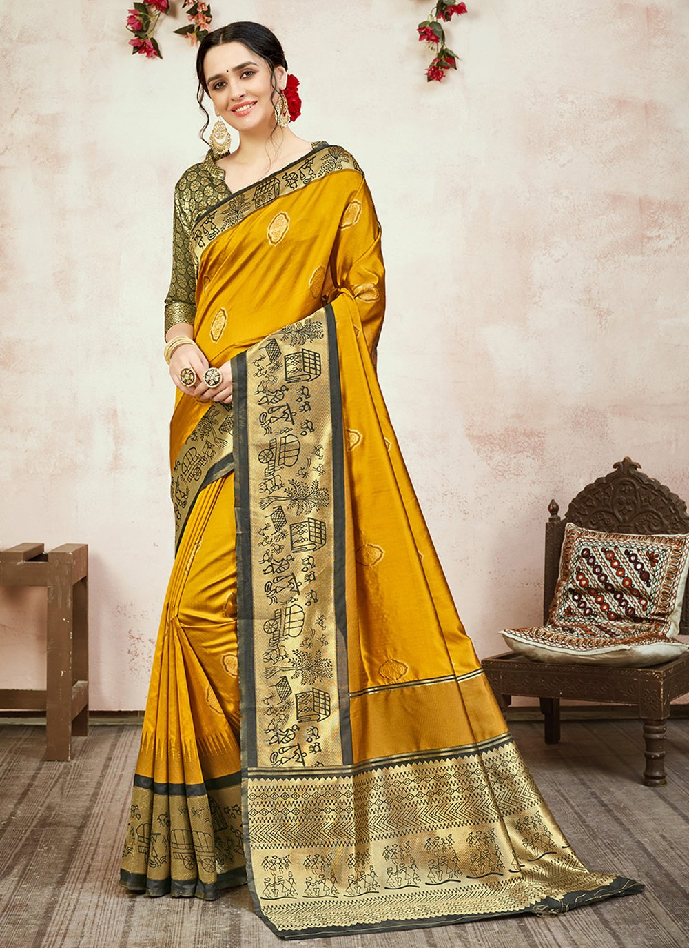 Banarasi Silk Yellow Designer Traditional Saree