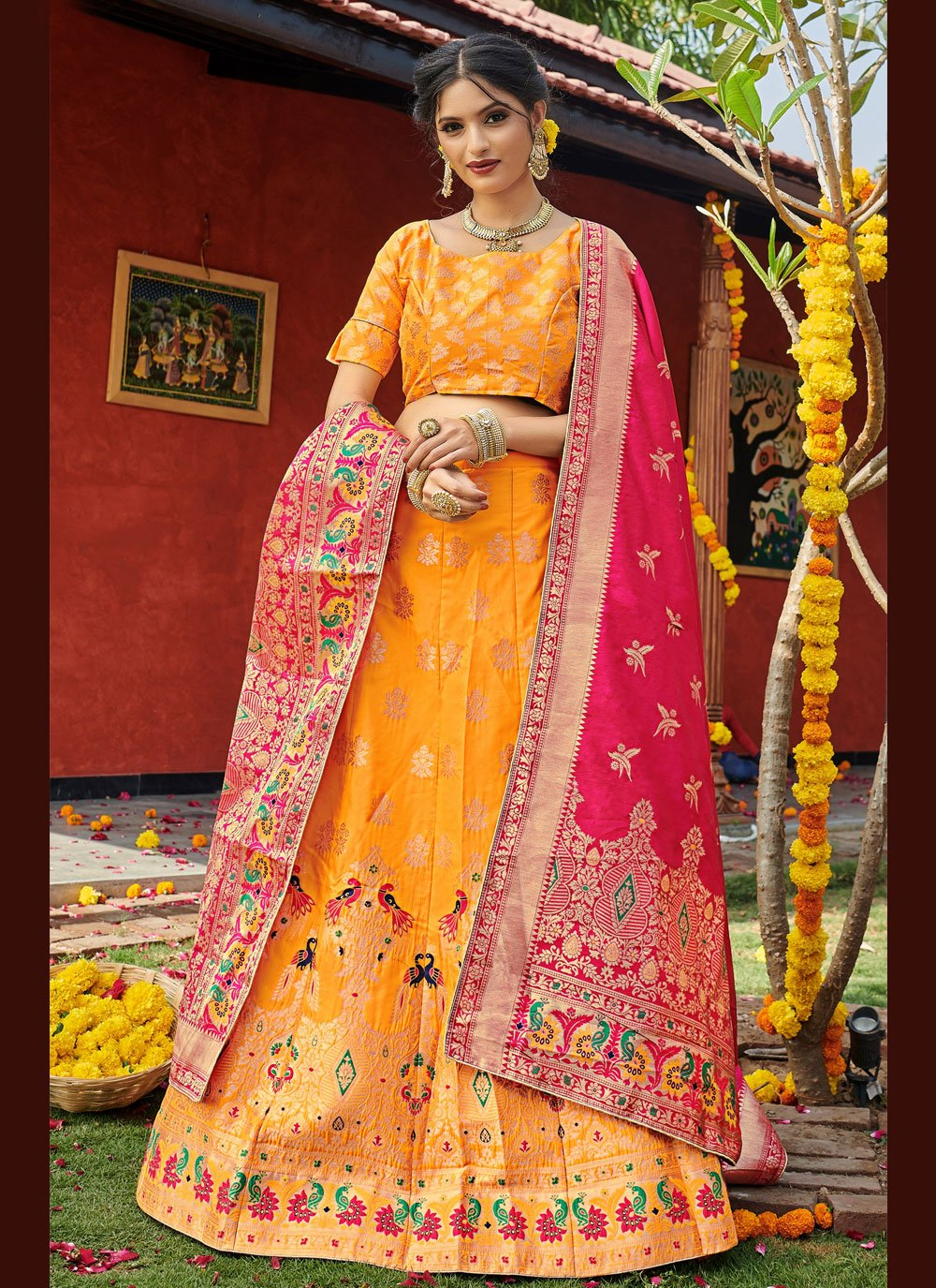 Banarasi Silk Yellow Lehenga Choli