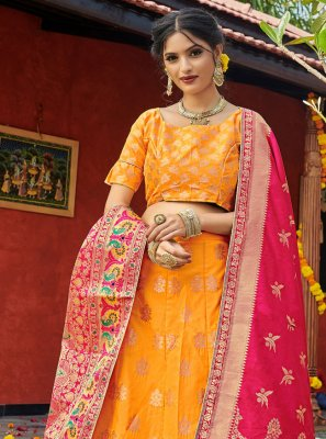Banarasi Silk Yellow Lehenga Choli