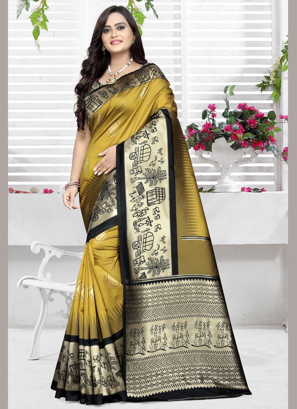 Banarasi Silk Yellow Trendy Saree