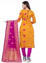 Banarasi Silk Yellow Weaving Churidar Salwar Suit
