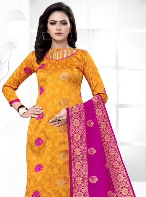 Banarasi Silk Yellow Weaving Churidar Salwar Suit