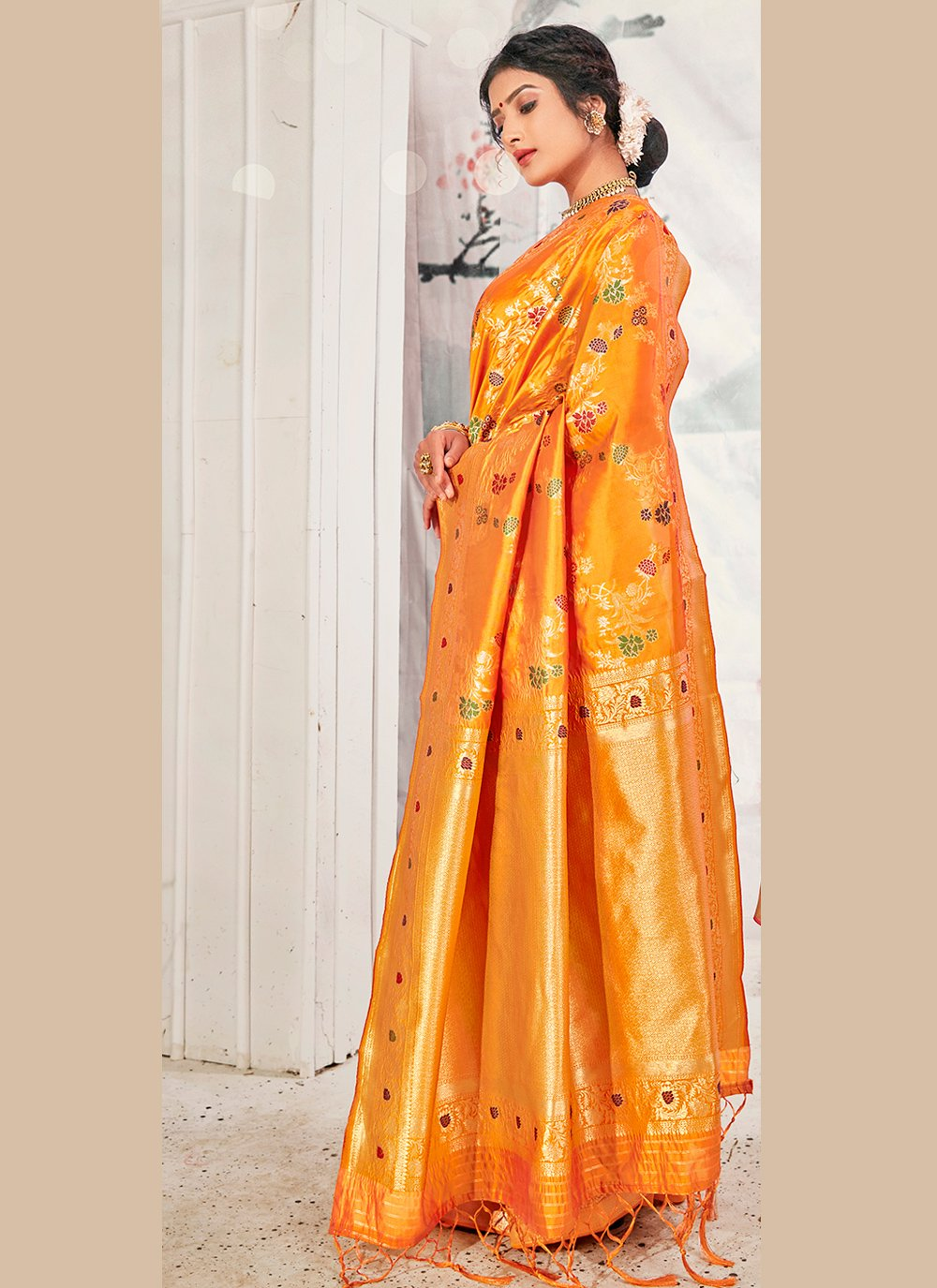 Banarasi Silk Yellow Weaving Traditional Designer Saree