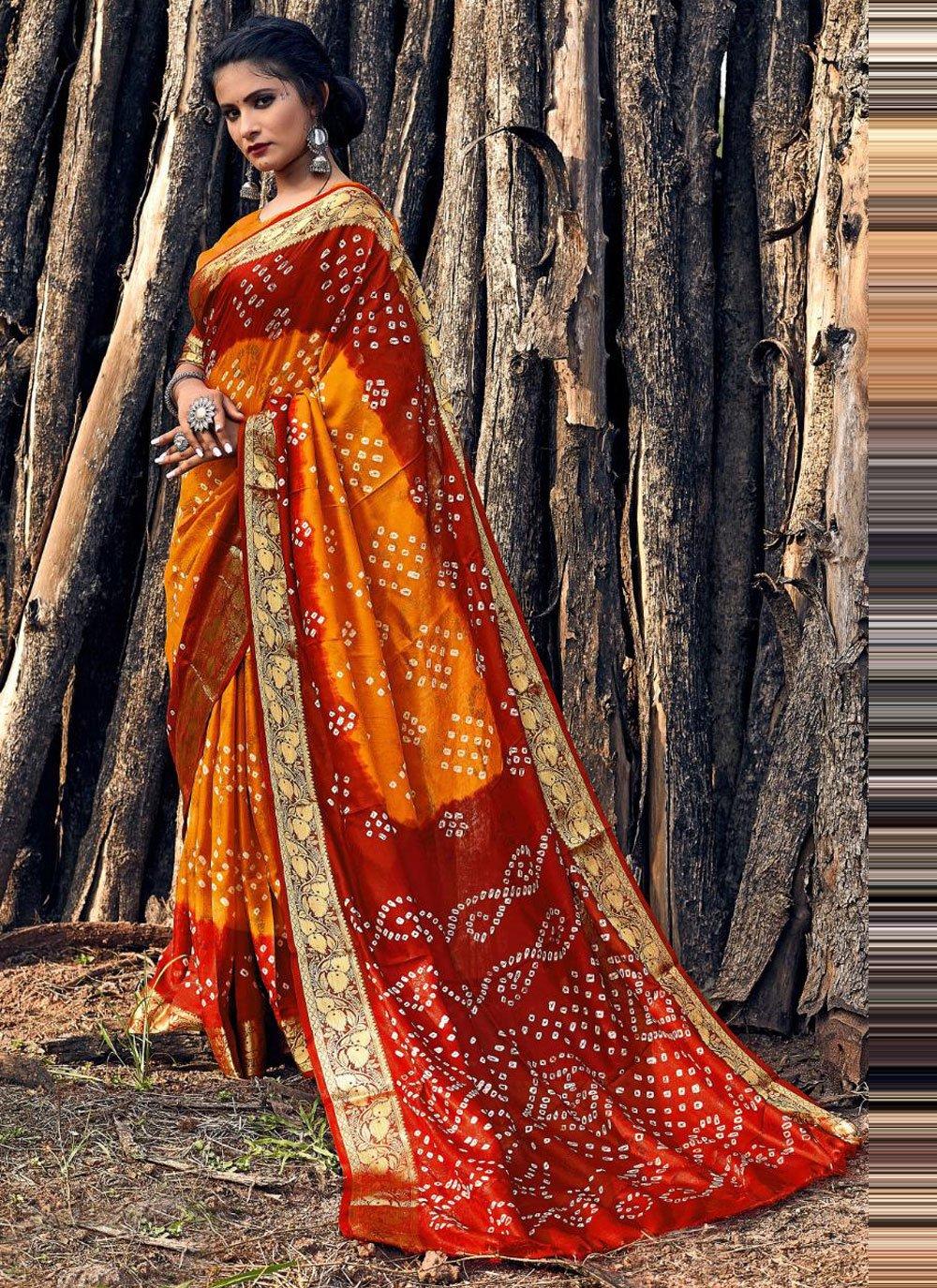Bandhani Saree Print Viscose in Maroon and Mustard