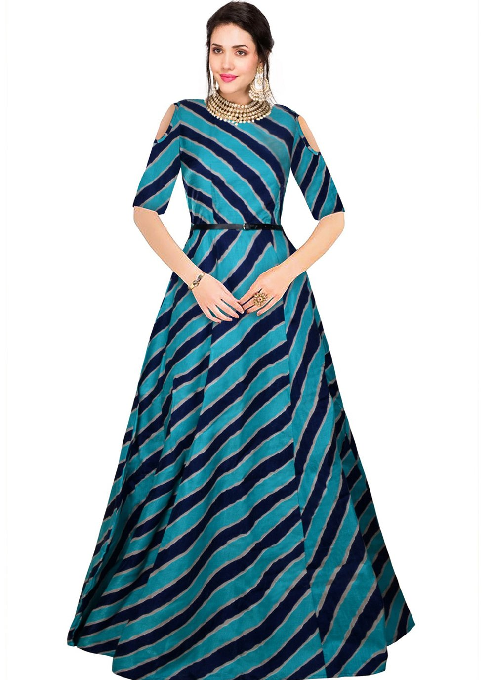 Banglori Silk Blue Printed Party Wear Kurti