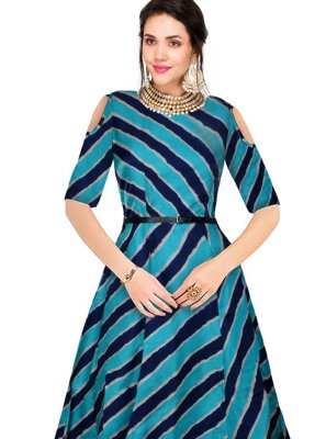 Banglori Silk Blue Printed Party Wear Kurti