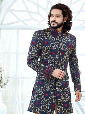 Banglori Silk Embroidered Navy Blue Indo Western