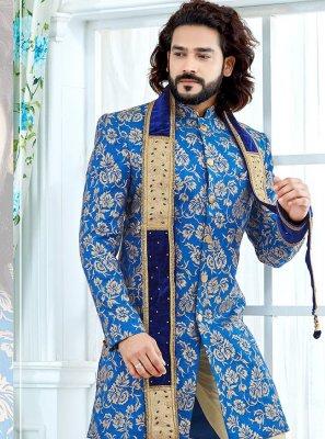Banglori Silk Indo Western Sherwani in Blue