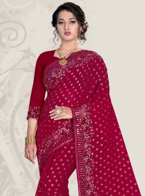 Banglori Silk Magenta Patch Border Designer Traditional Saree